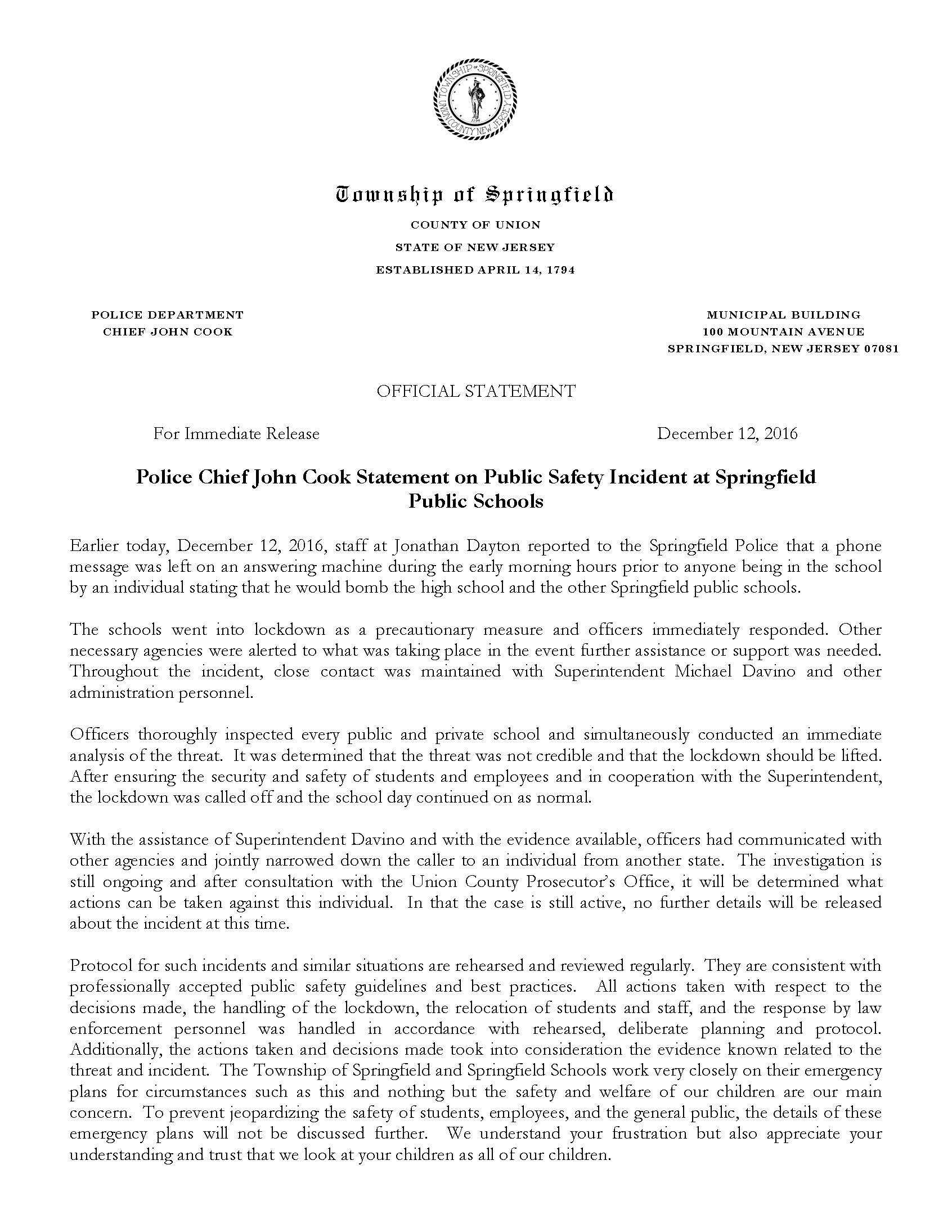 law-public-safety-police-20161212-springfield-public-schools-incident-statement